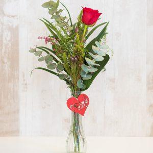 Rosa roja de tallo largo con adronos para regalo a domicilio en Toledo
