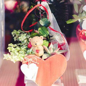 Rosa preservada con base corazón