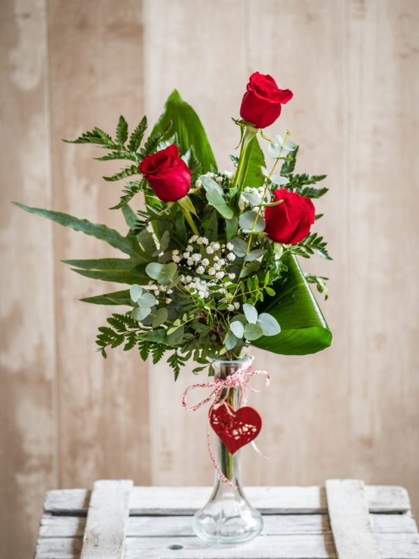 Trío rosas San Valentín