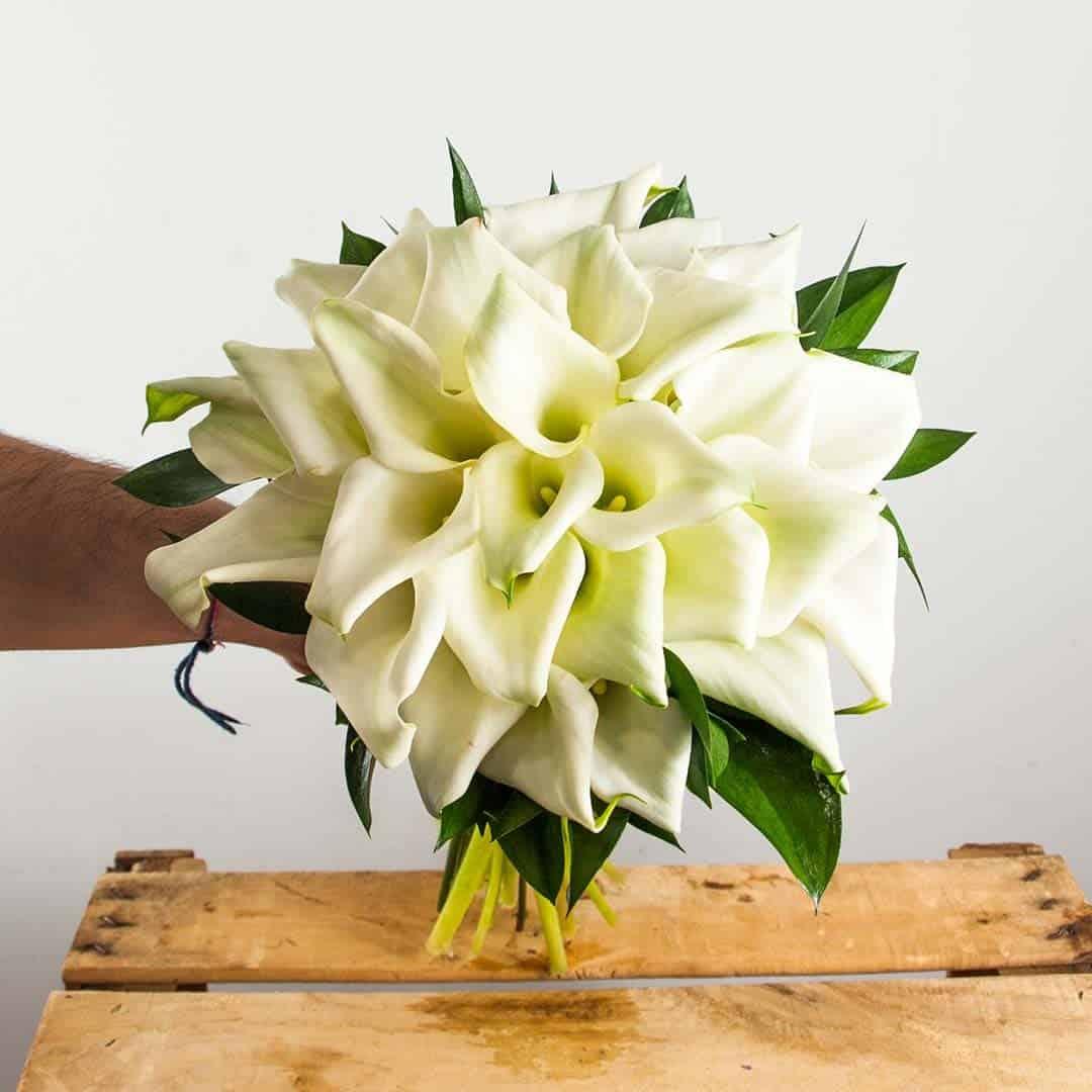 Ramo de novia de calas blancas para boda en Toledo